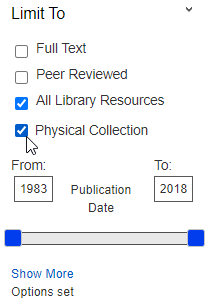 QuickSearch Limit To limiter with Physical Collection selected
