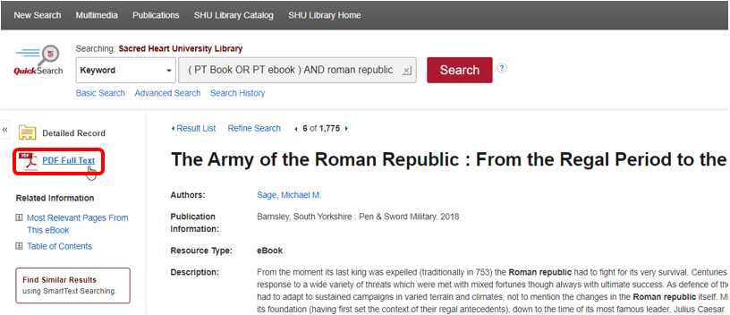 eBook Detailed Record with PDF Full Text highlighted