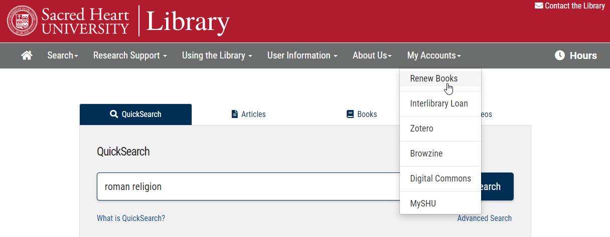 Renew Books Link under My Accounts