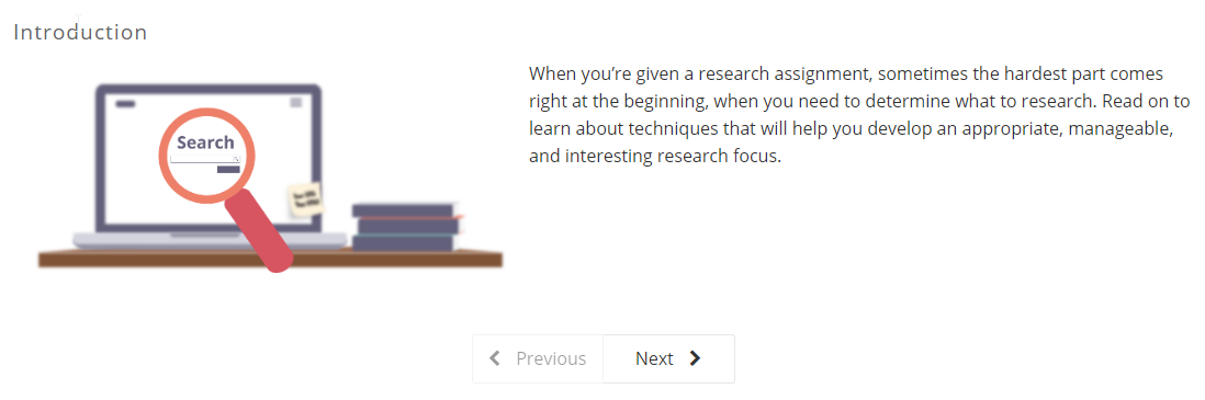 Developing a Research Focus Tutorial