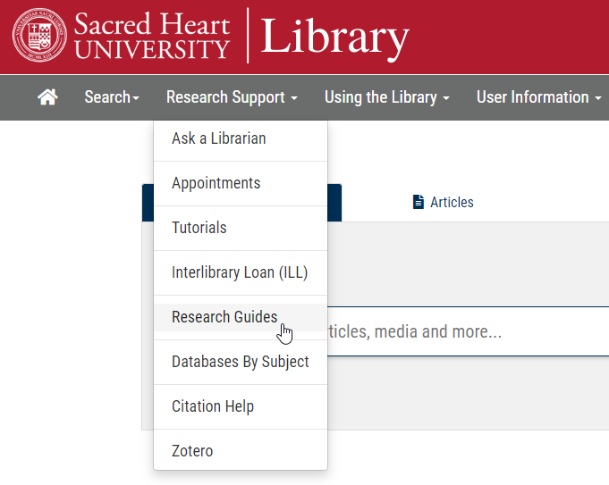 Research Guides link under the Research Support dropdown menu