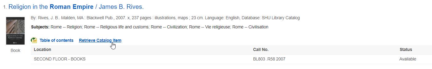 Retrieve Catalog Item link in QuickSearch