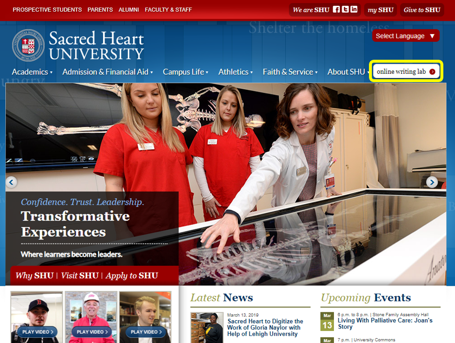 Searching for Online Writing Lab on the SHU homepage