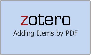 Zotero Adding Items by PDF Video Tutorial