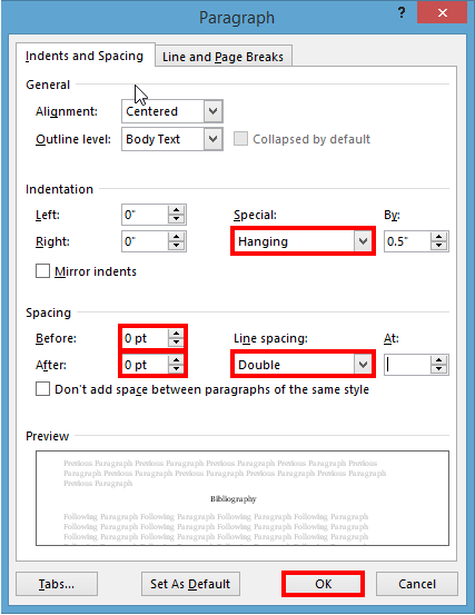 MS Word Paragraph Settings with Hanging Indent and double spaced selected