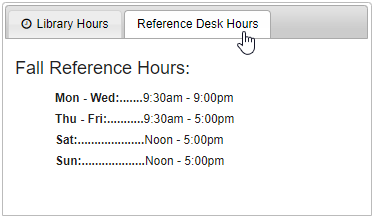 Reference Desk Hours