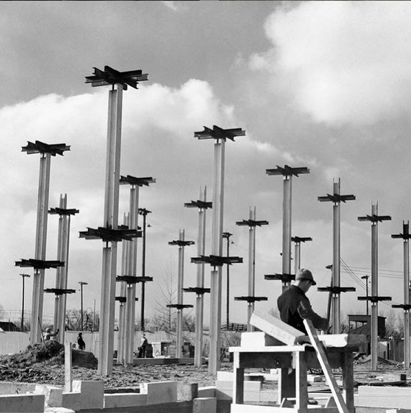 Black and white image of construction