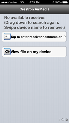 Screenshot of the first screen, with options to tap to enter the receiver hostname or IP or to view file on your device.