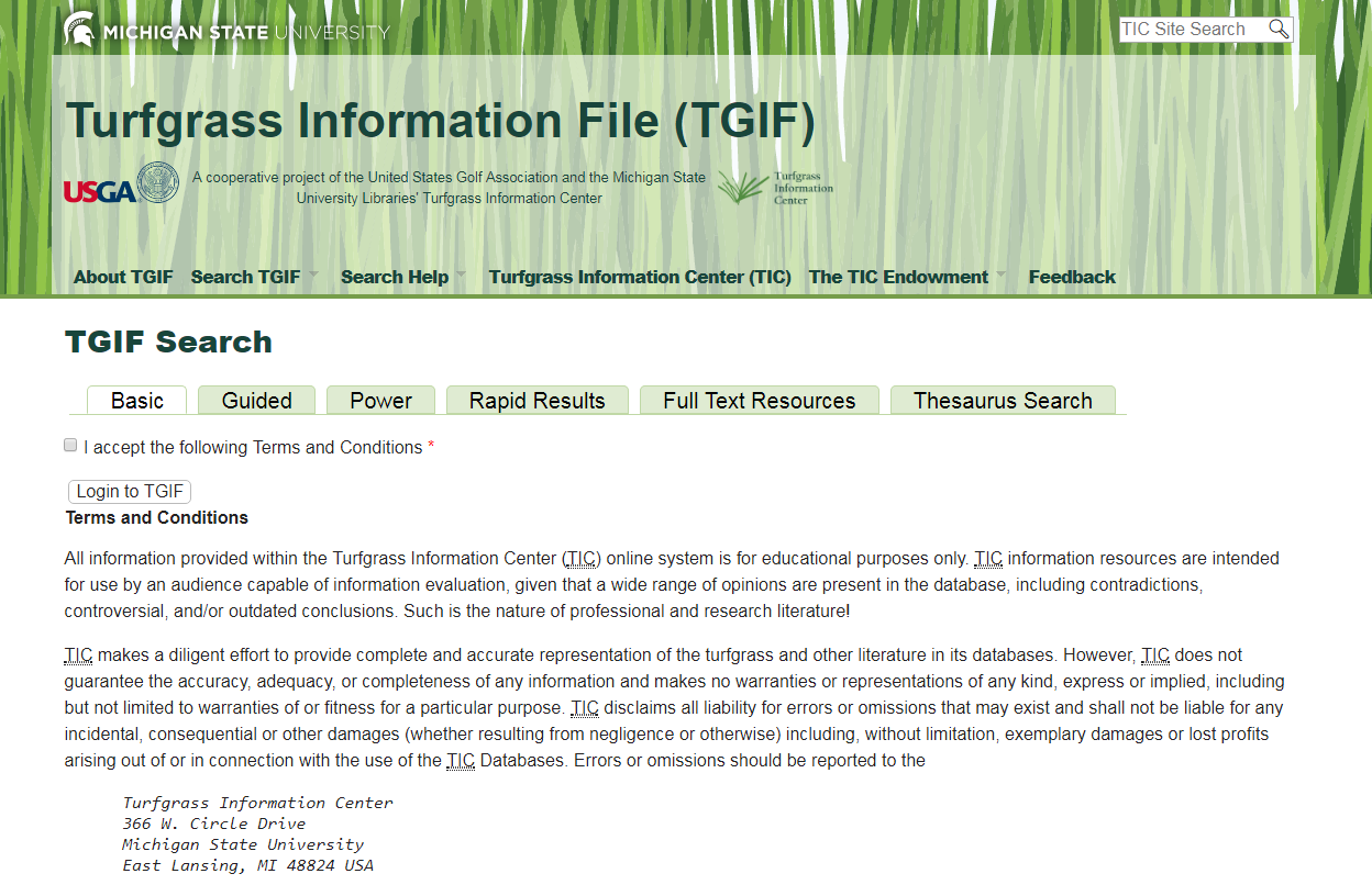 Turfgrass Information File