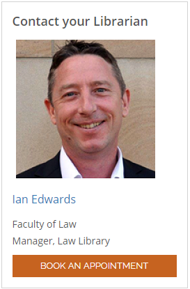 Book an appointment with ian Edwards, Law Library Manager