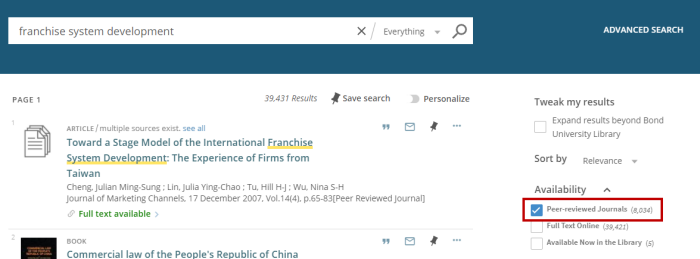 Select 'Peer-reviewed journals' in the filter options in Library Search to refine your results to peer-reviewed items