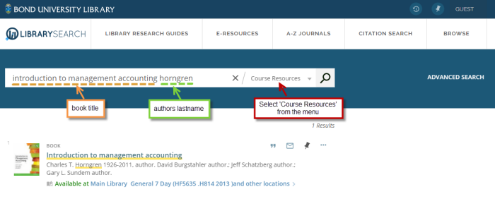 Example: search for the title and author in the Course Resources search