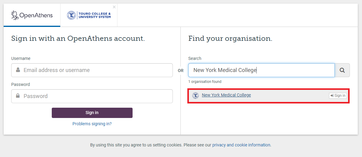 Step 3: Choose NYMC as your institution.