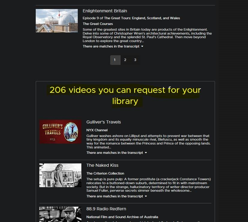 videos you can request for your library