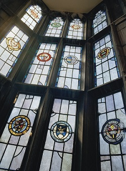 Stained glass in Board of Trustees room