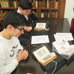 Students viewing Burns materials