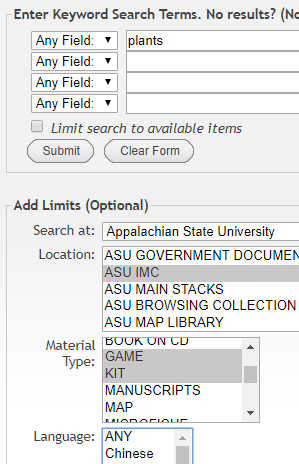 "Screen shot of Advanced Search page.  The search term ""plants"" is entered in the search box.  The location is limited to ASU IMC and Material Type Lis limited to Game and Kit."