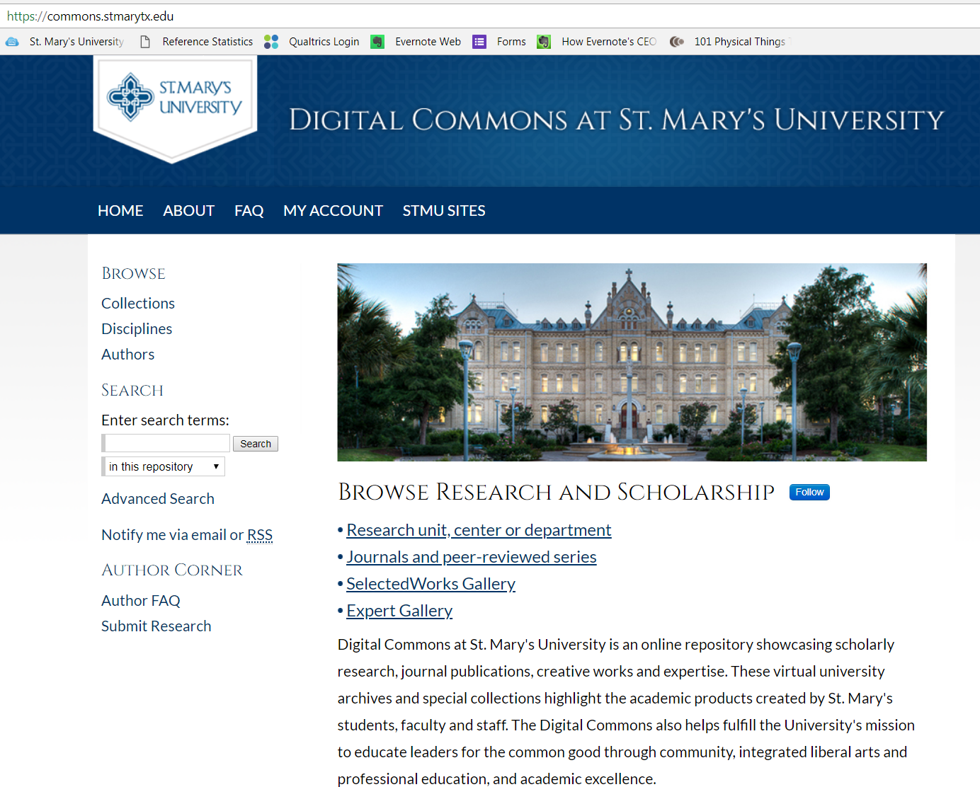 Digital Commons at St. Mary's University home page