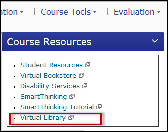 TN eCampus Course Resources screen capture.  Virtual Library link highlighted