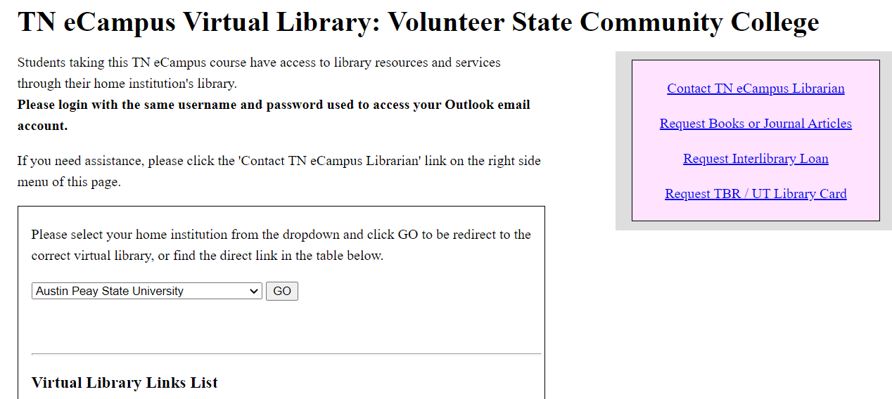 TN eCampus Virtual Library page showing menu option to select library
