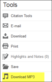 Screen capture of tools available with Gale Cengage Learning database. Highlighted Download MP3 tool