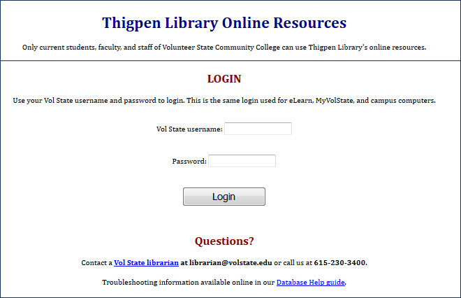 "screen capture webpage ""Thigpen Library: login..."""
