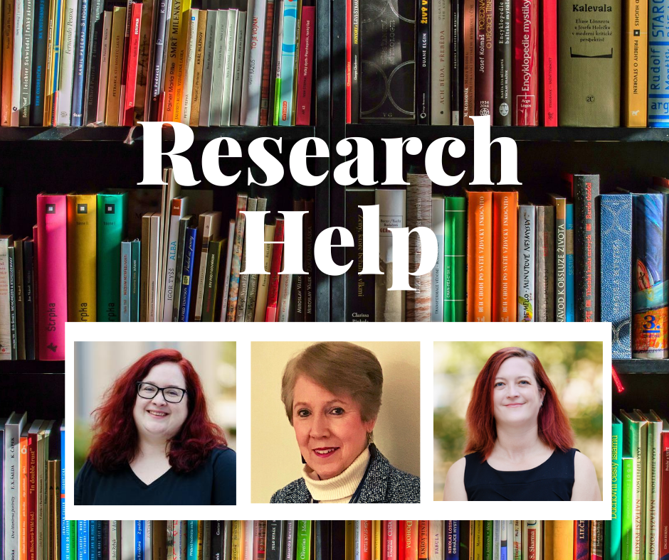 Pictures of librarians on a background image featuring shelves of books.