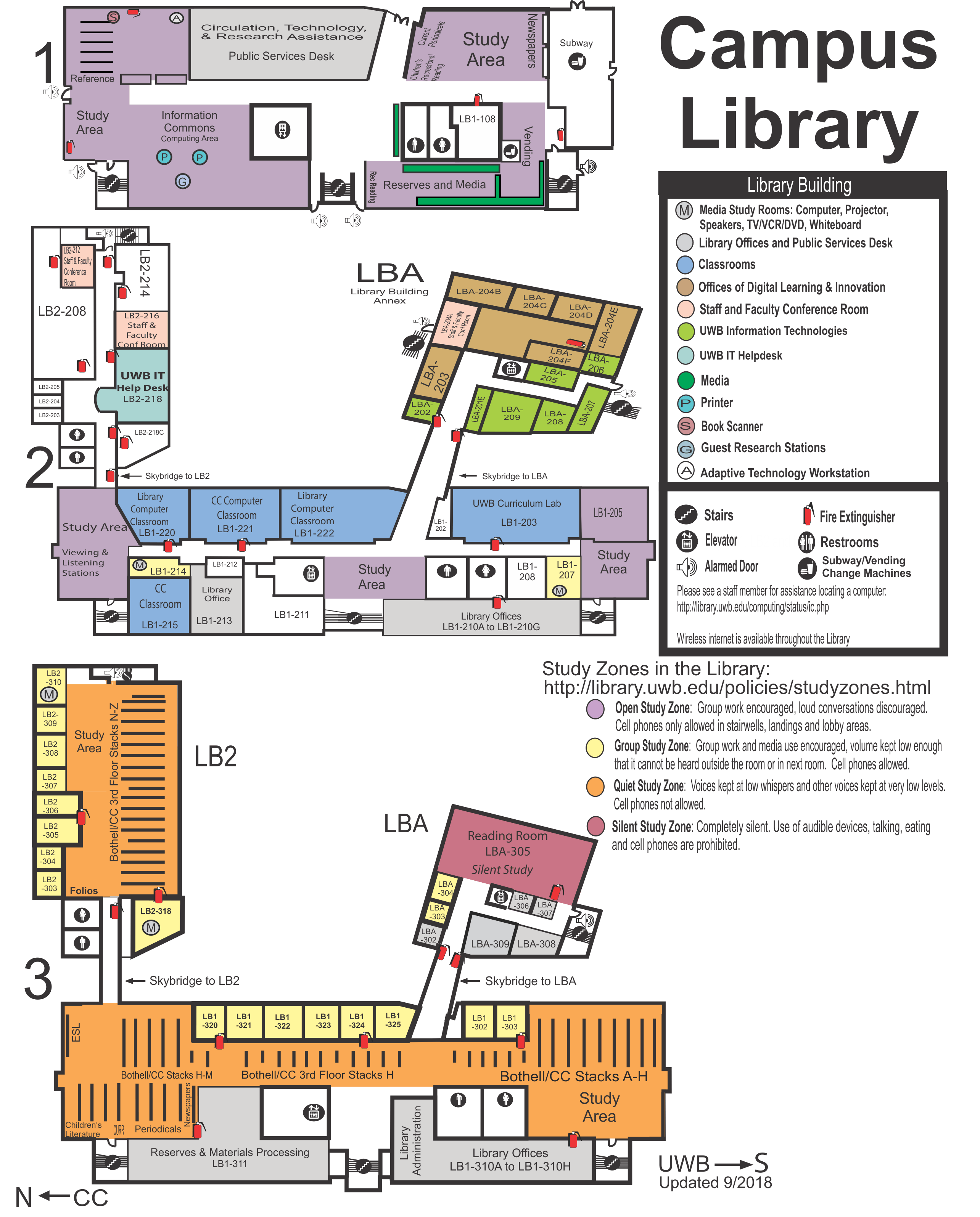 Image of Campus Library All floors map which links to PDF version of Map