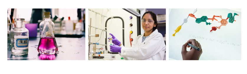 Banner with three images: beaker with pink liquid, a chemist at work, and a model of a molecule