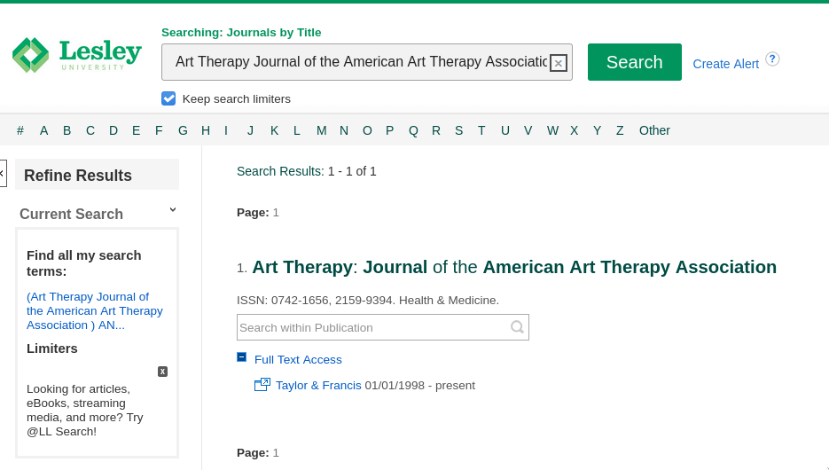 Screenshot of a journal search by title