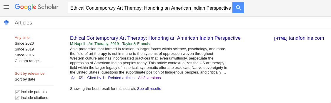 Screenshot of a known item search on Google Scholar