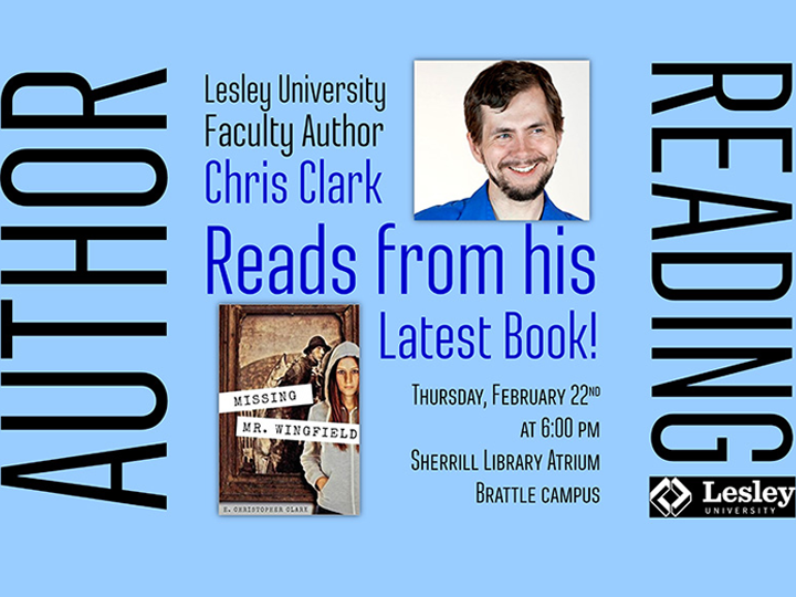 Chris Clark will be reading from his new book, Missing Mr. Wingfield, on Feb. 22nd at 6 pm in Sherrill Library