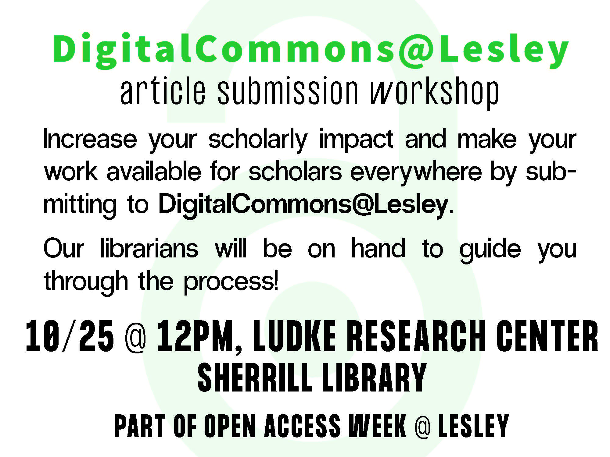 Event info for DigitalCommons@Lesley article submission workshop happening October 25 at noon