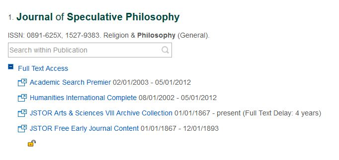 Screenshot of the Lesley website showing the Journal of Speculative Philosophy and the range of years that full text access is available.