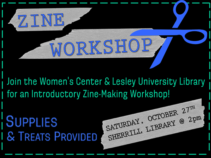 Image for Zine Workshop event on Saturday October 27th in Sherrill Library at 2pm