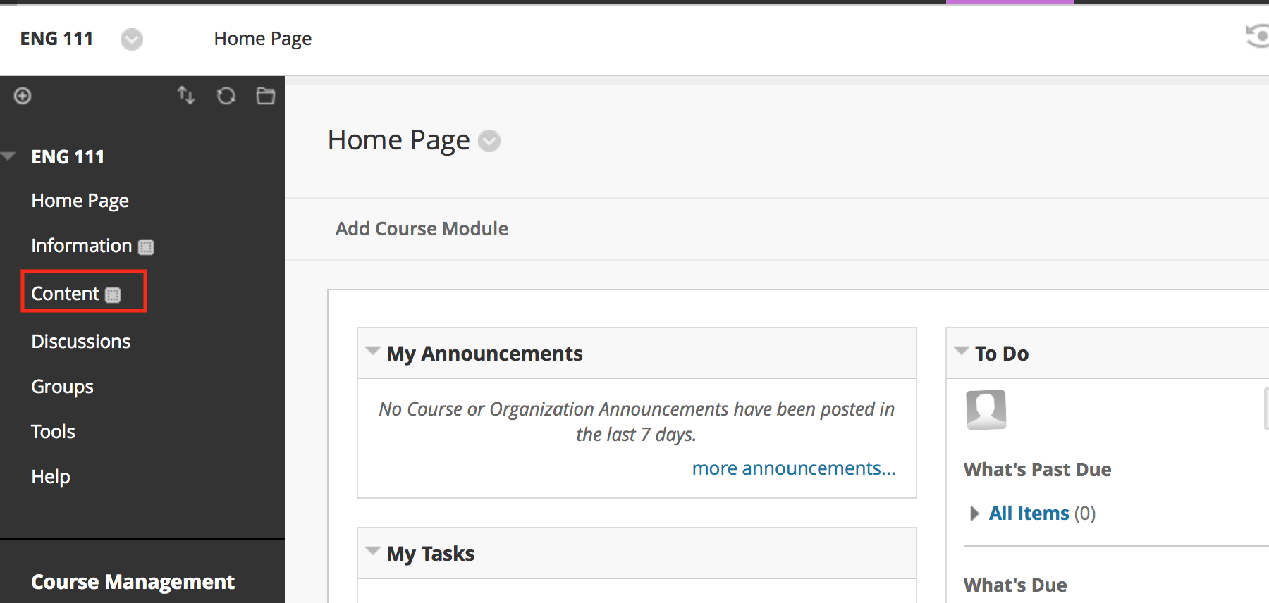 Screenshot of Blackboard navigation with 'Content' highlighted.