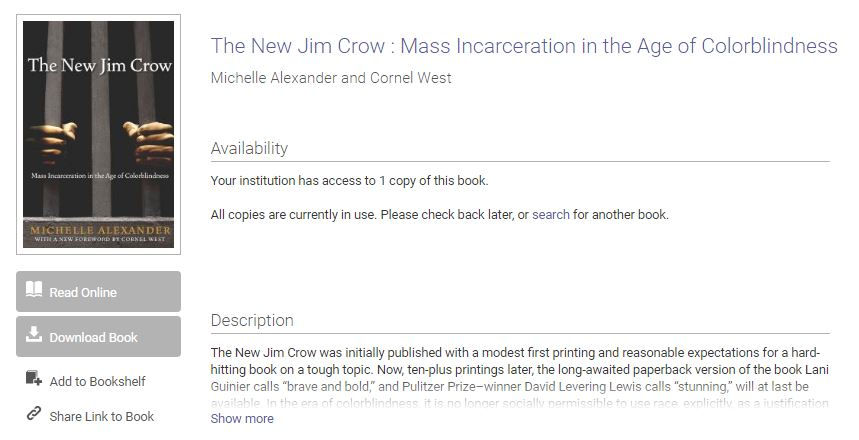 Screenshot of the landing page for the New Jim Crow eBook, showing that it is currently in use.