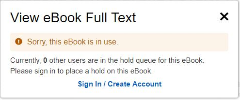 Screenshot of the EBSCO eBooks turnaway message saying a title is in use.