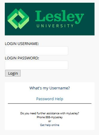 Screenshot of a page prompting the user for myLesley credentials