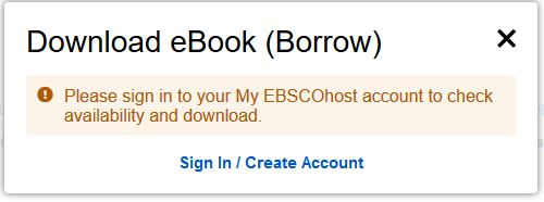 Screenshot of a prompt to log in to My EBSCOhost in order to borrow an ebook