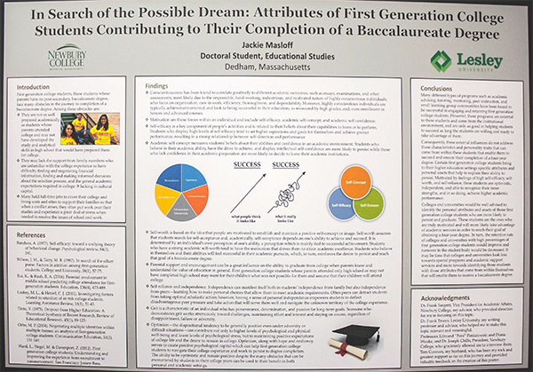 Example of an academic poster by Jackie Masloff, who presented the poster titled, Attributes of First Generation Students Enabling Them to Complete a Baccalaureate Degree