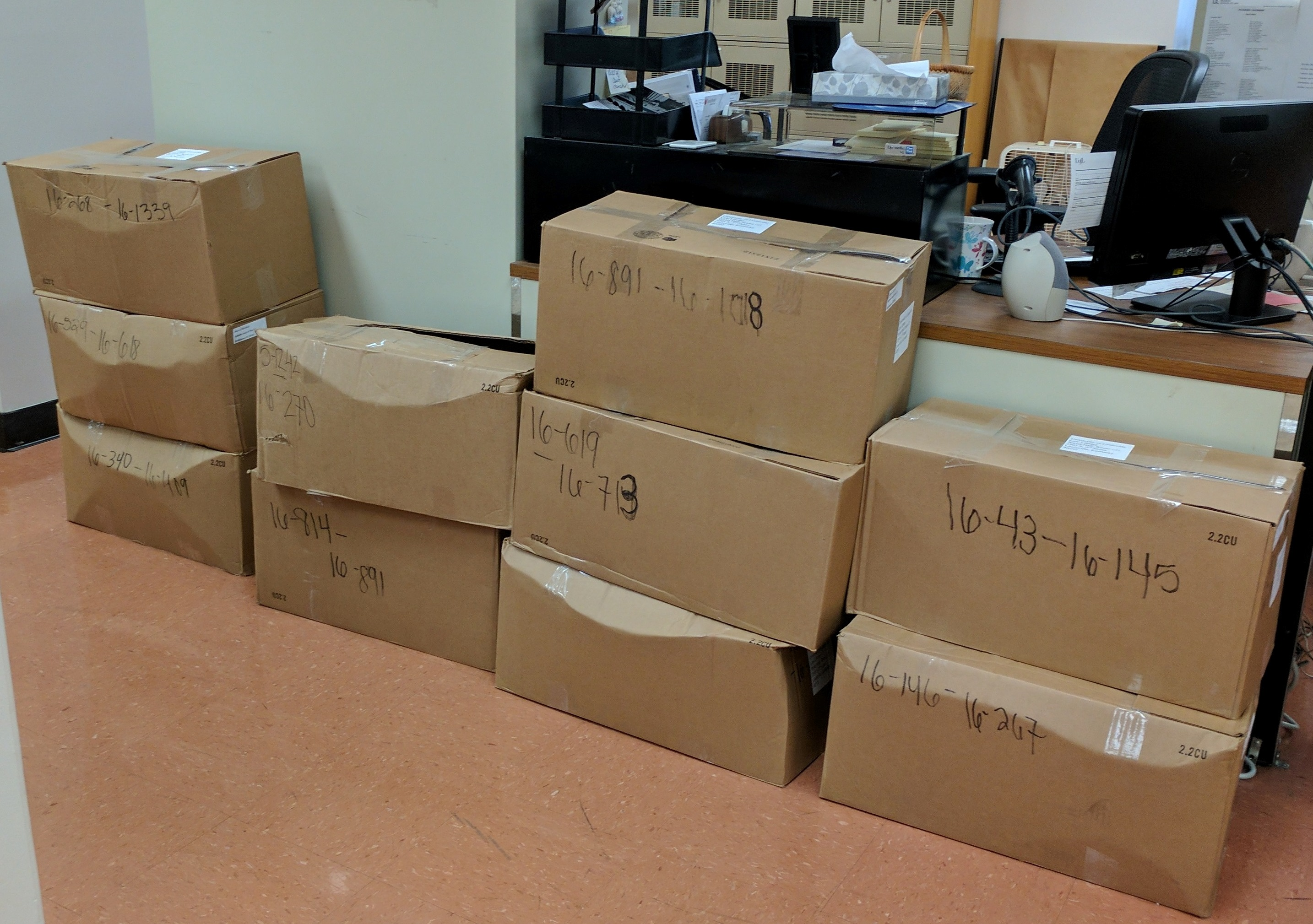 boxes of Supreme Court briefs